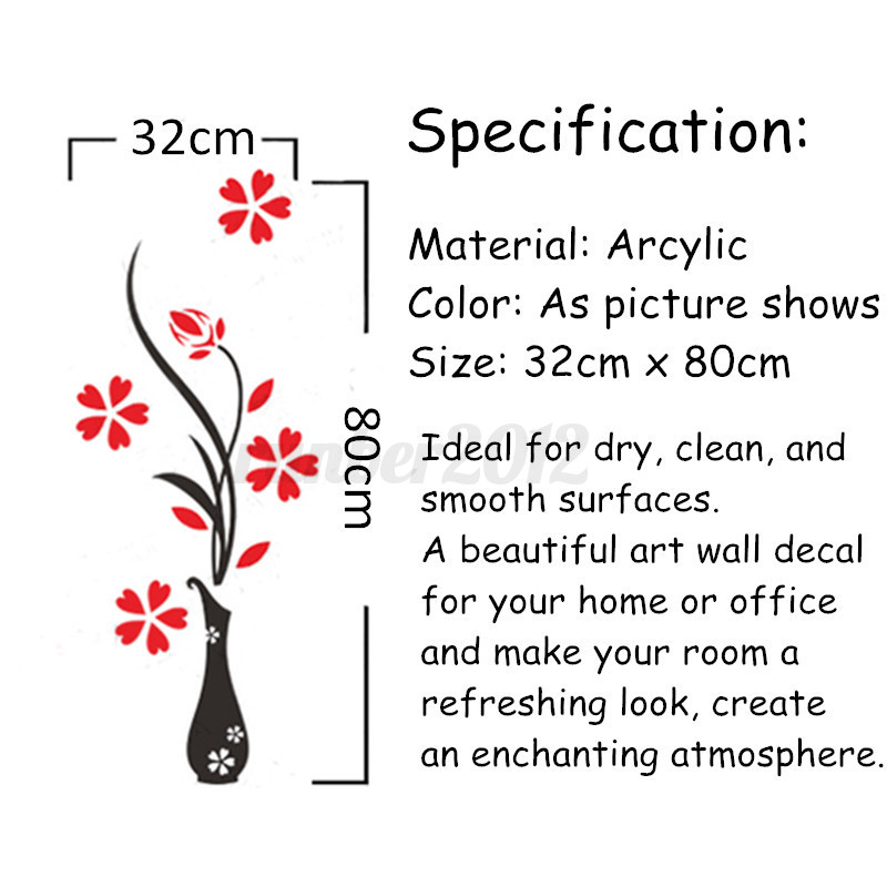 Wall Art Stickers B And Q : Beautiful d flower diy mirror wall decals stickers art
