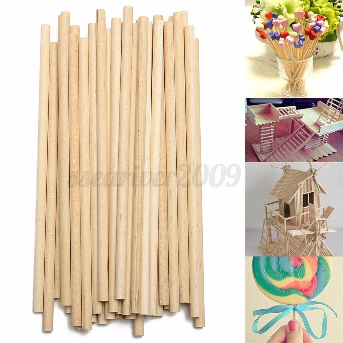 50pcs 150mm round wooden lollipop lolly sticks cake dowels for Wooden dowels for crafts
