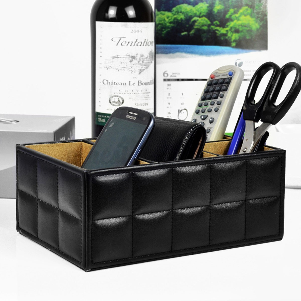 PU Leather Storage Box Desk Tidy Organizer Holder for Remote Control/Phone/Pen