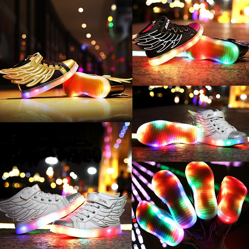 Hot Boys Girls LED Night Light Up Shoes Wing Dance Loafer ...