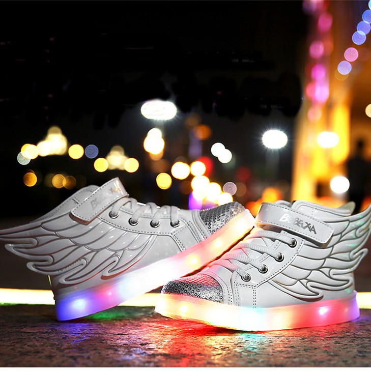 hot boys girls led night light up shoes wing dance loafer kids high top sneakers ebay. Black Bedroom Furniture Sets. Home Design Ideas