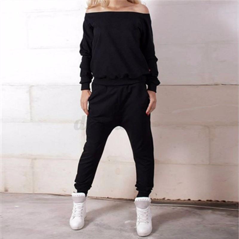 Plus Size 2Pcs Women's Tracksuit Sweatshirt+Harem Pants Sportswear Sweat suit