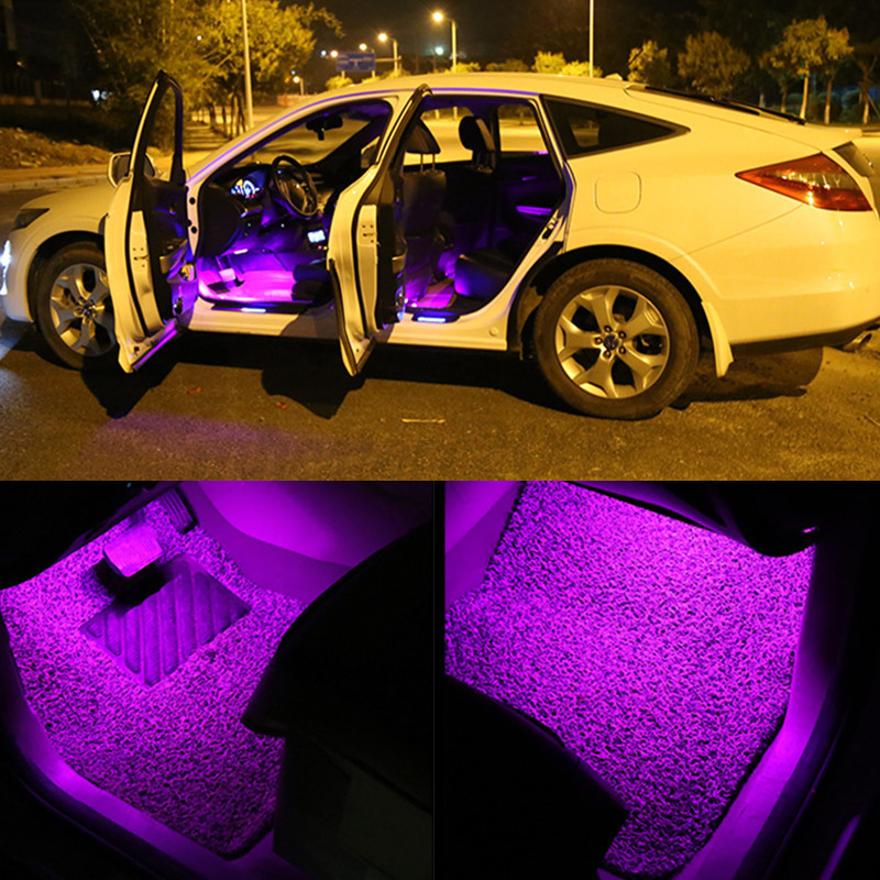glow full color led interior car lamp kit under dash foot seat inside lighting ebay. Black Bedroom Furniture Sets. Home Design Ideas