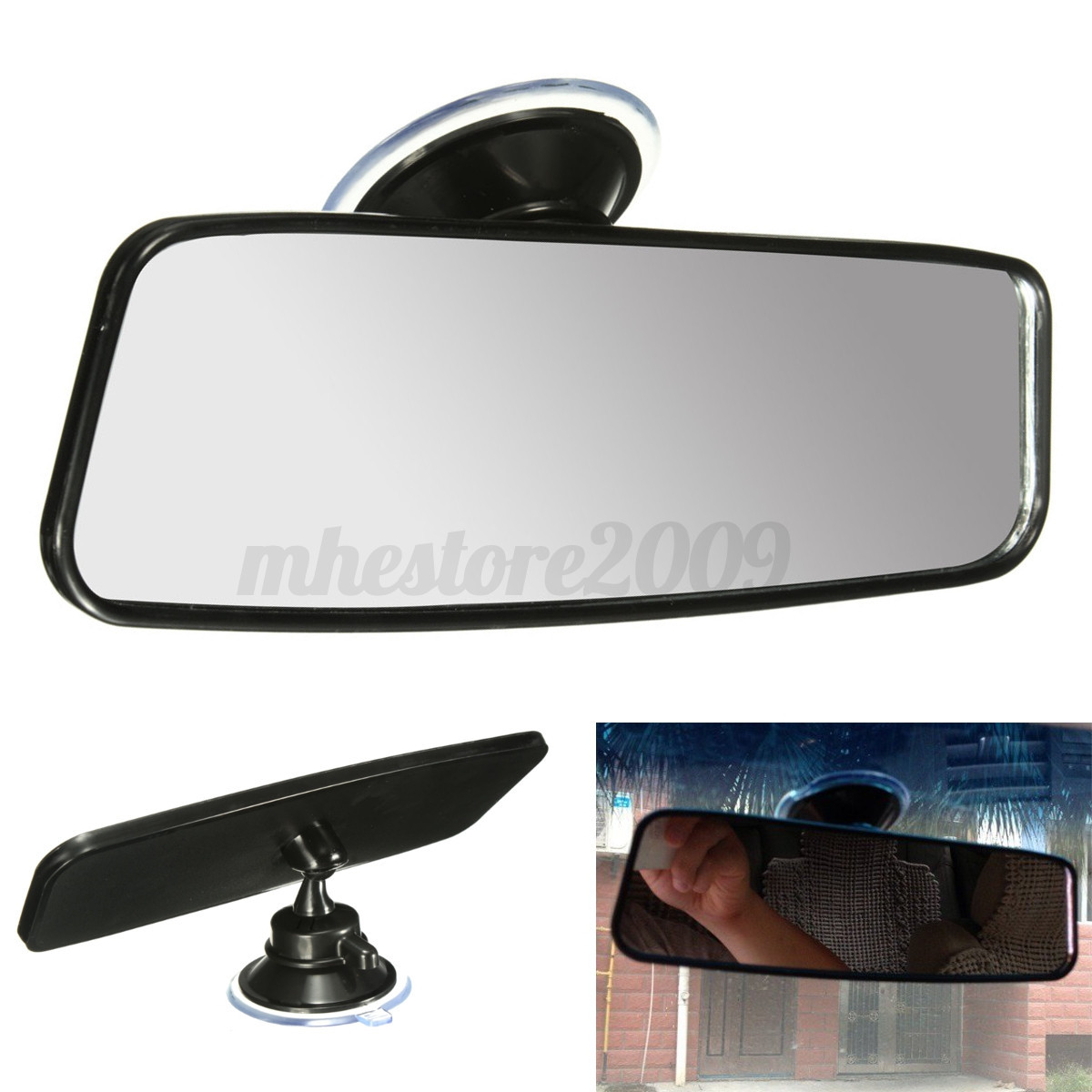 universal car truck wide flat interior rear view mirror suction stick rearview ebay. Black Bedroom Furniture Sets. Home Design Ideas
