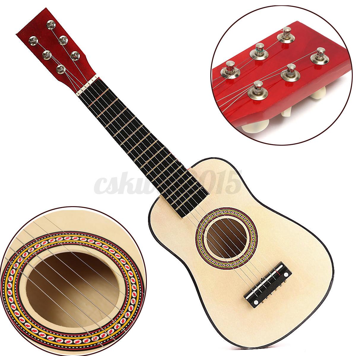 23 red wooden beginners practice acoustic guitar w 6 string for children kids ebay. Black Bedroom Furniture Sets. Home Design Ideas