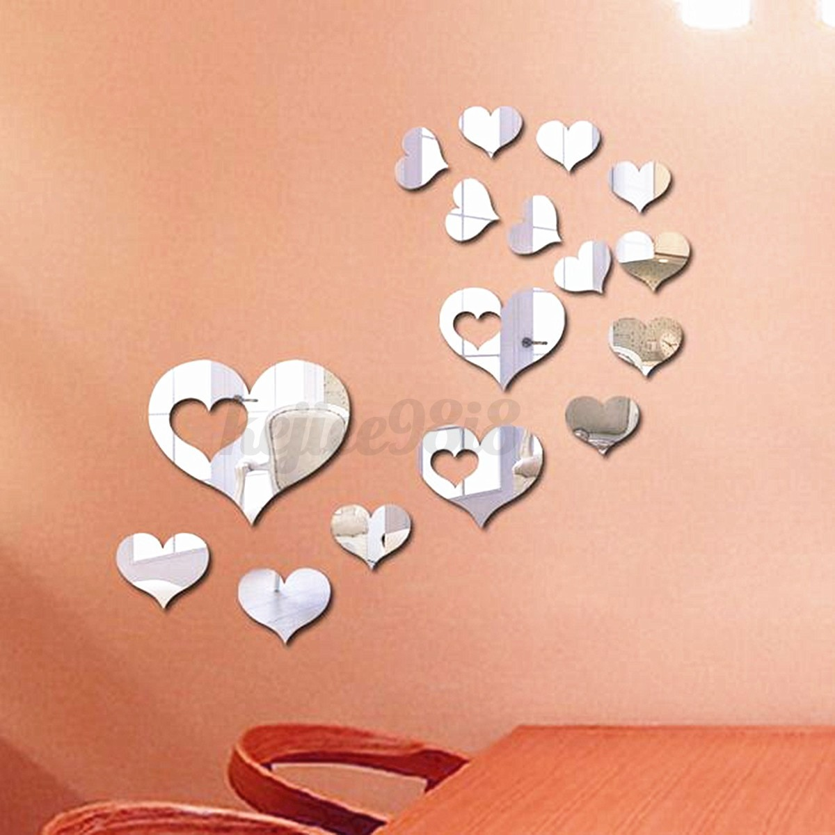 Heart Mirror Tile Decal Sticker Wall Art Craft Acrylic Self Adhesive Mosaics DIY