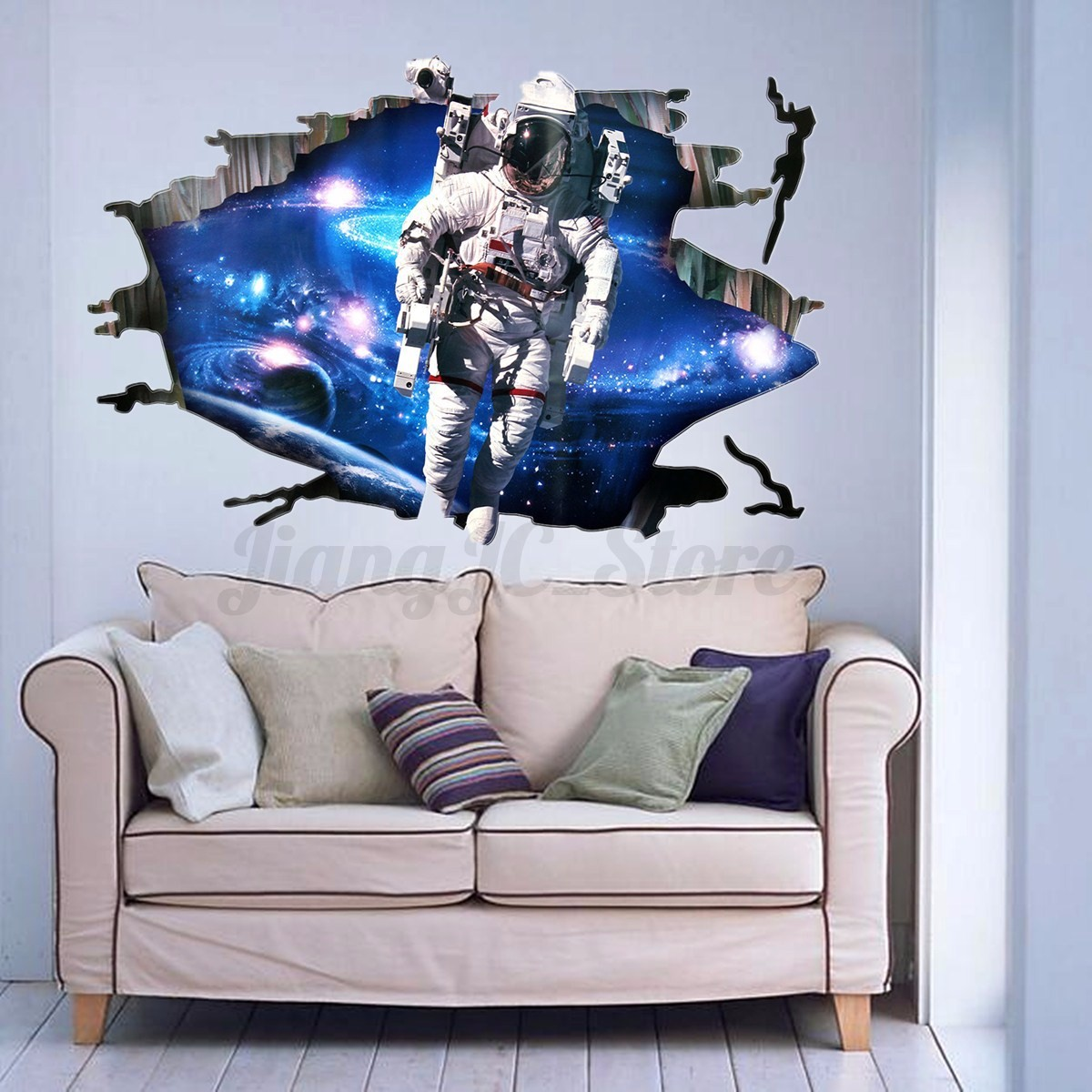 3d astronaut outer space galexy cracked art wall sticker for Wall decor outer space