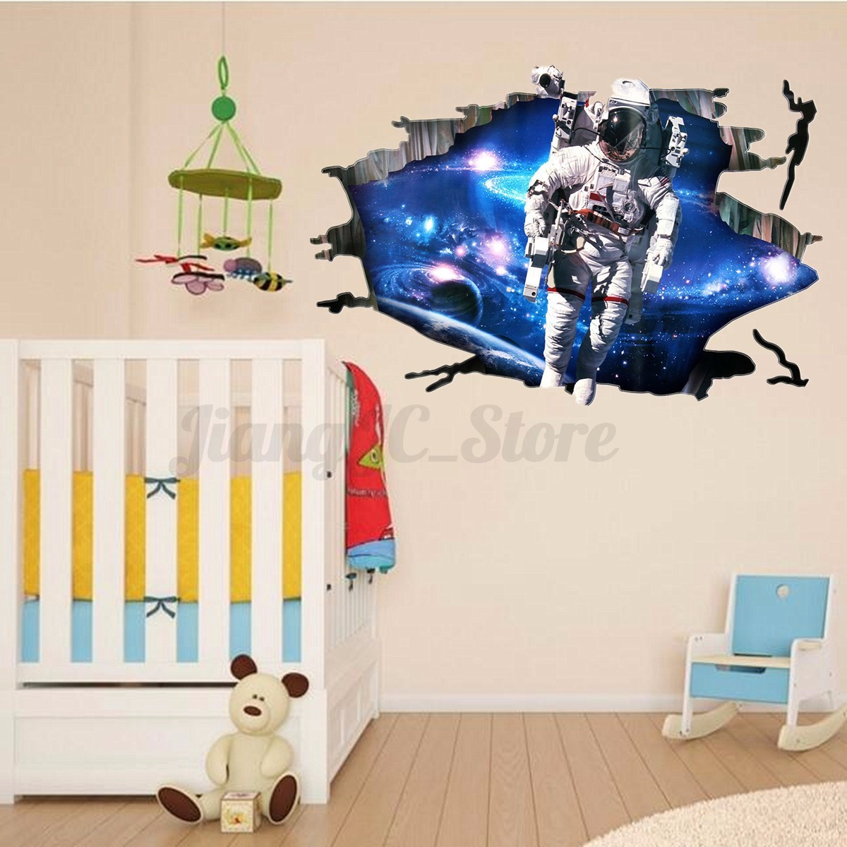 3D Astronaut Outer Space Galexy Cracked Art Wall Sticker ...