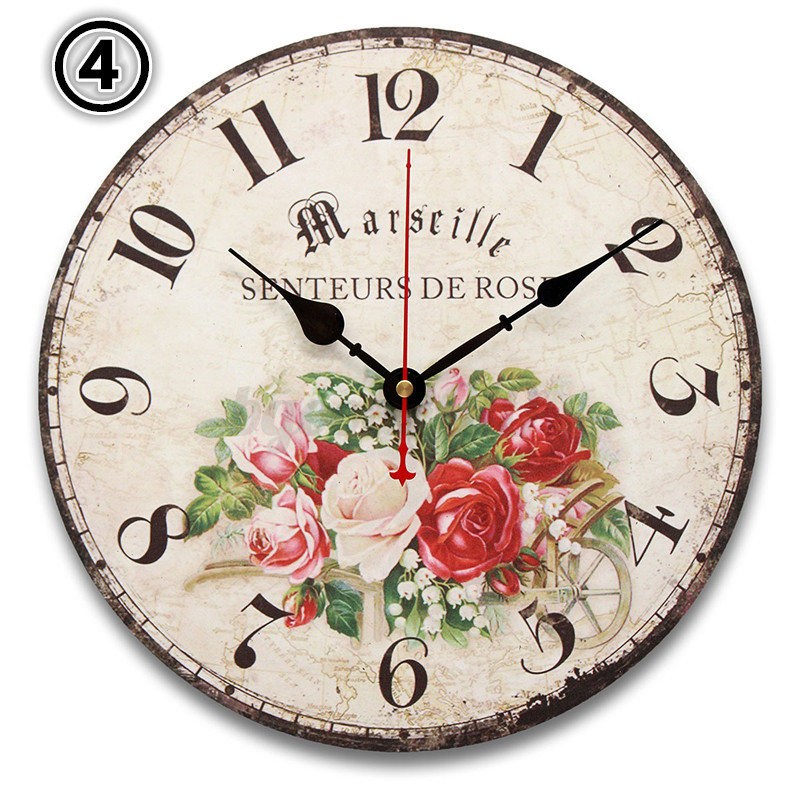 30cm large vintage rustic wooden wall clock retro home kitchen antique shabby ebay