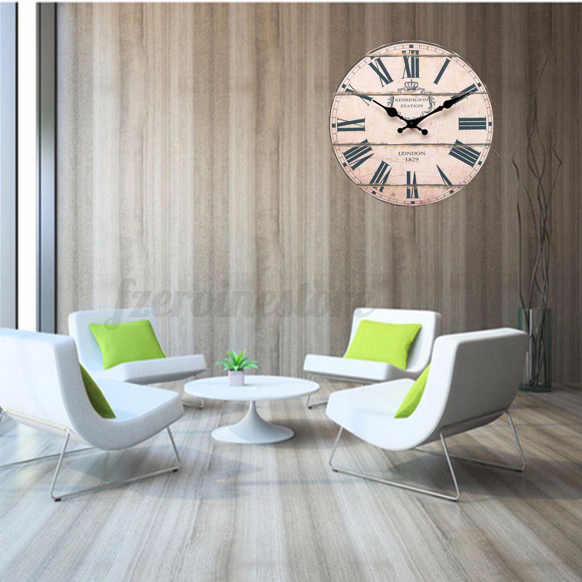 Grande orologio da parete vintage in legno shabby rurale for Ebay arredamento