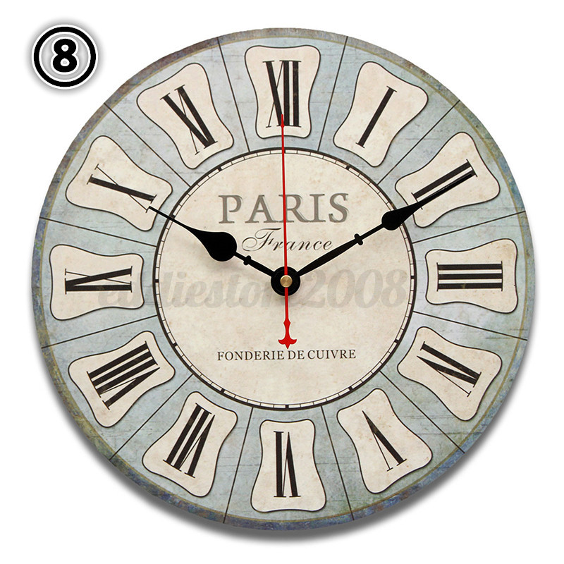 Retro Vintage Antique Chic Large Wooden Digital Wall Clock