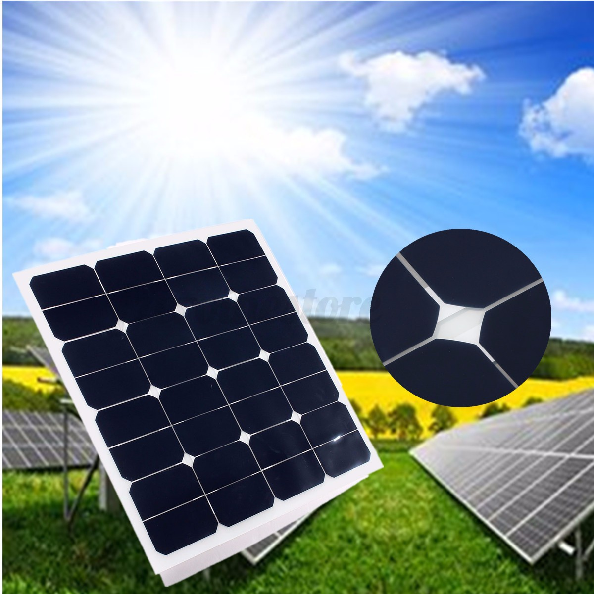20w 30w 50w 80w 12v Solar Panel Battery Charger Cable