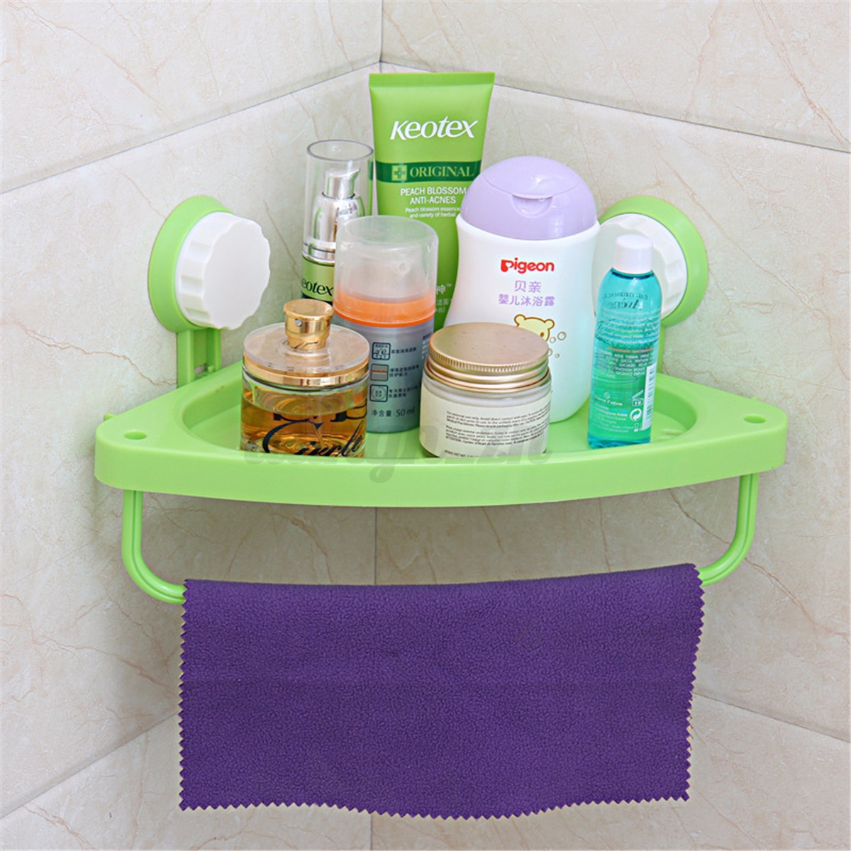 1pcs panier rangement support mural ventouse coin etag re for Support gel douche salle bain