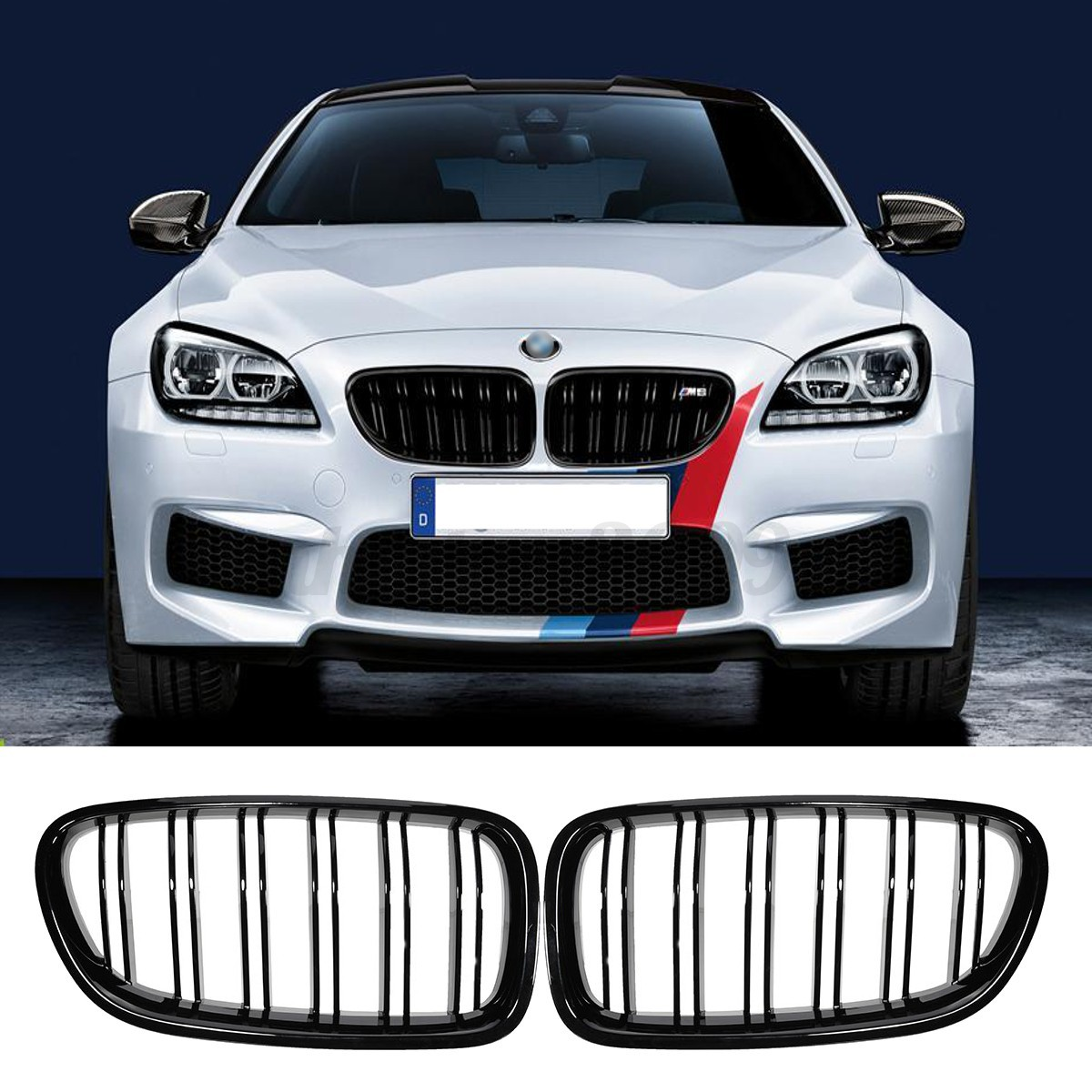 Gloss Black Front Sport Kidney Grill Grille For BMW 10-14 F10 F18 F02 F11 M5