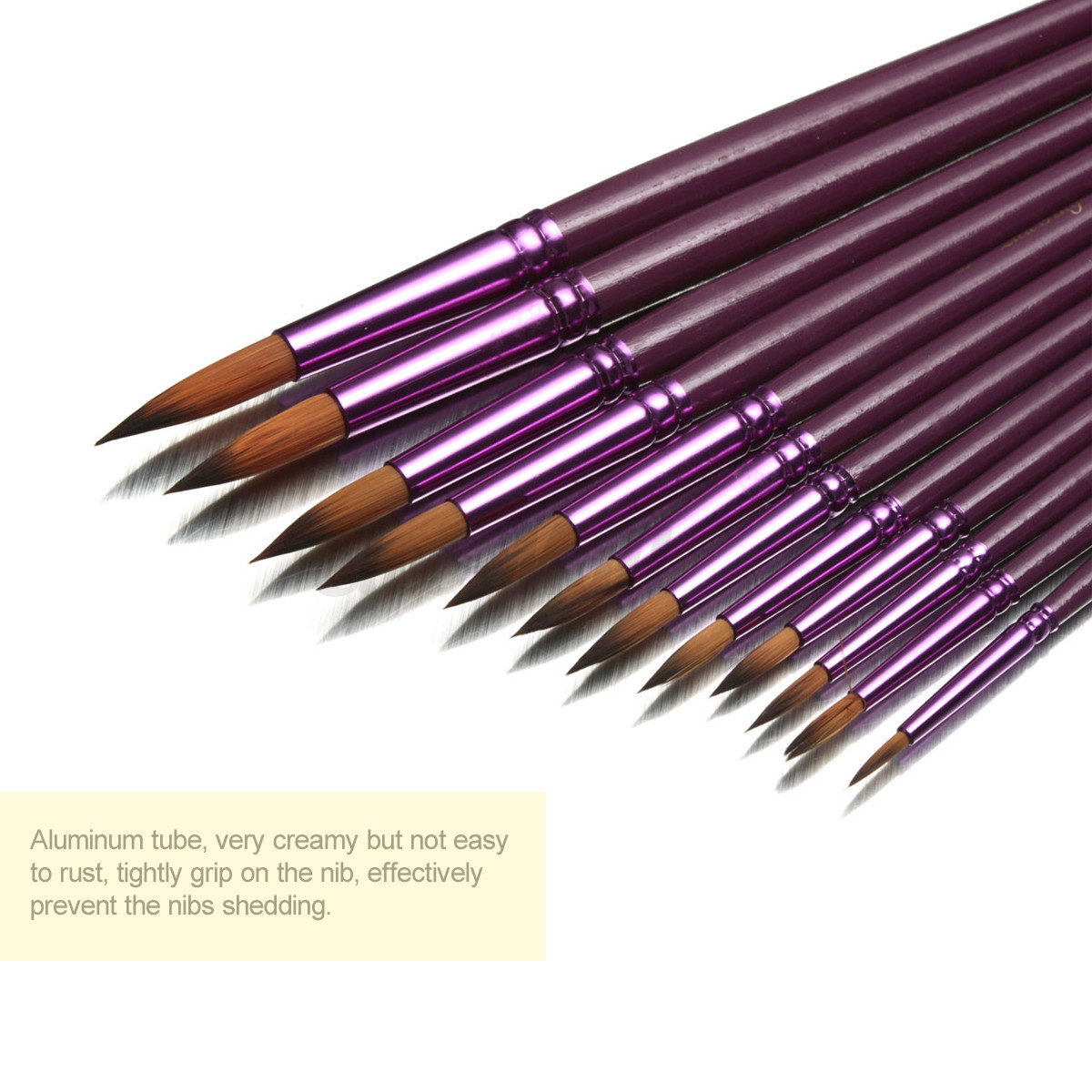 Flat Tip Painting Brushes Set Artist Nylon Hair Watercolor Oil Drawing Pen