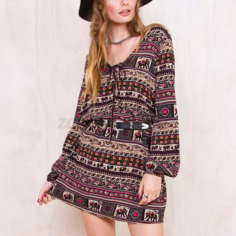BOHO Womens Floral Printed Long Sleeve Cocktail Party Casual Loose Dress Belted
