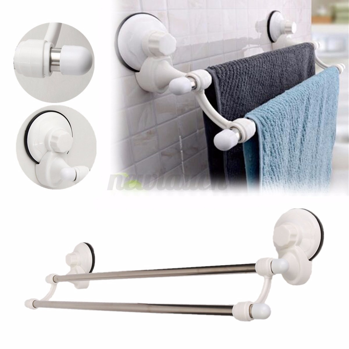 suction cup 50cm wall mounted bathroom towel rail holder storage racks 2 bars ebay. Black Bedroom Furniture Sets. Home Design Ideas