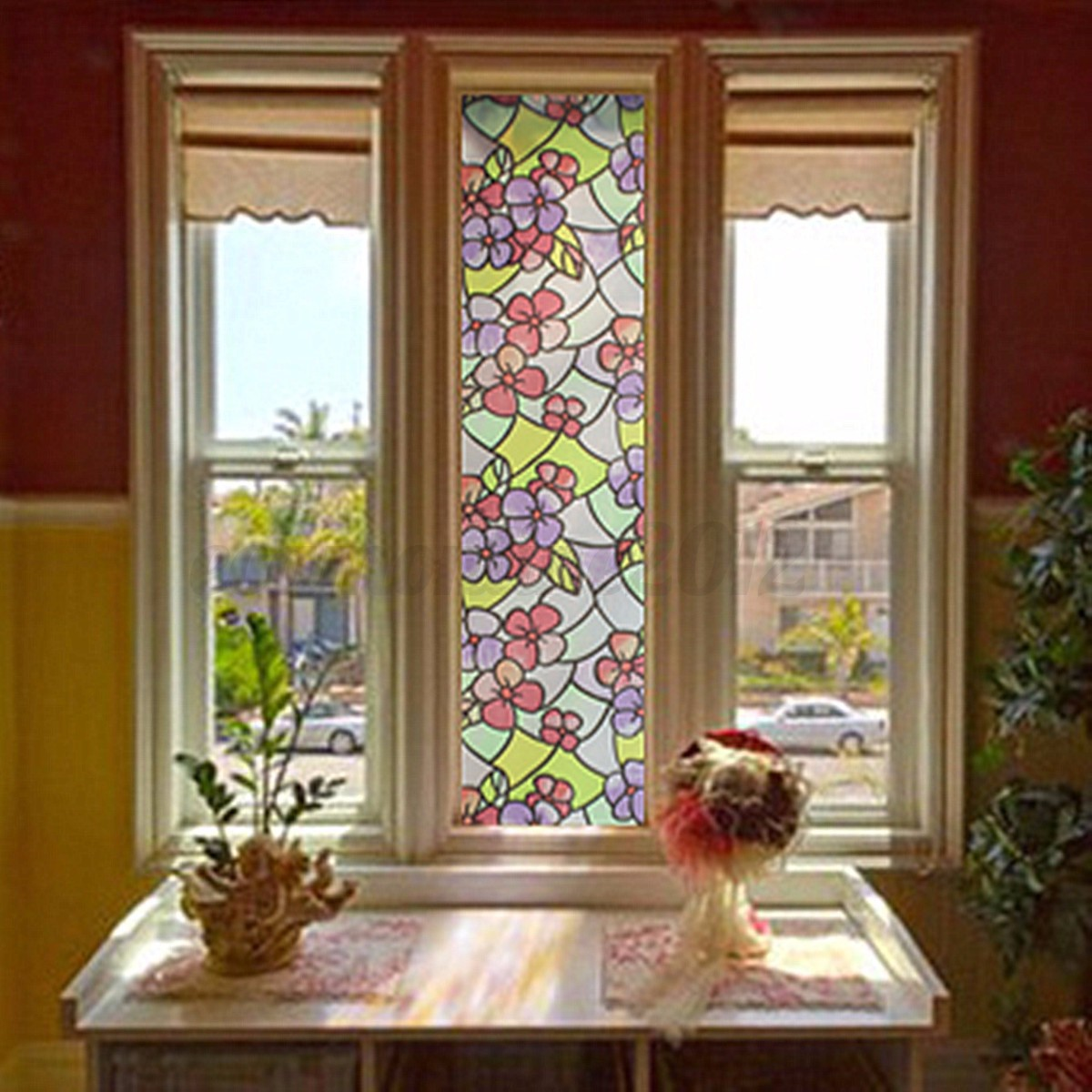 Pvc flowers frosted stained glass window film sticker self for Home window glass