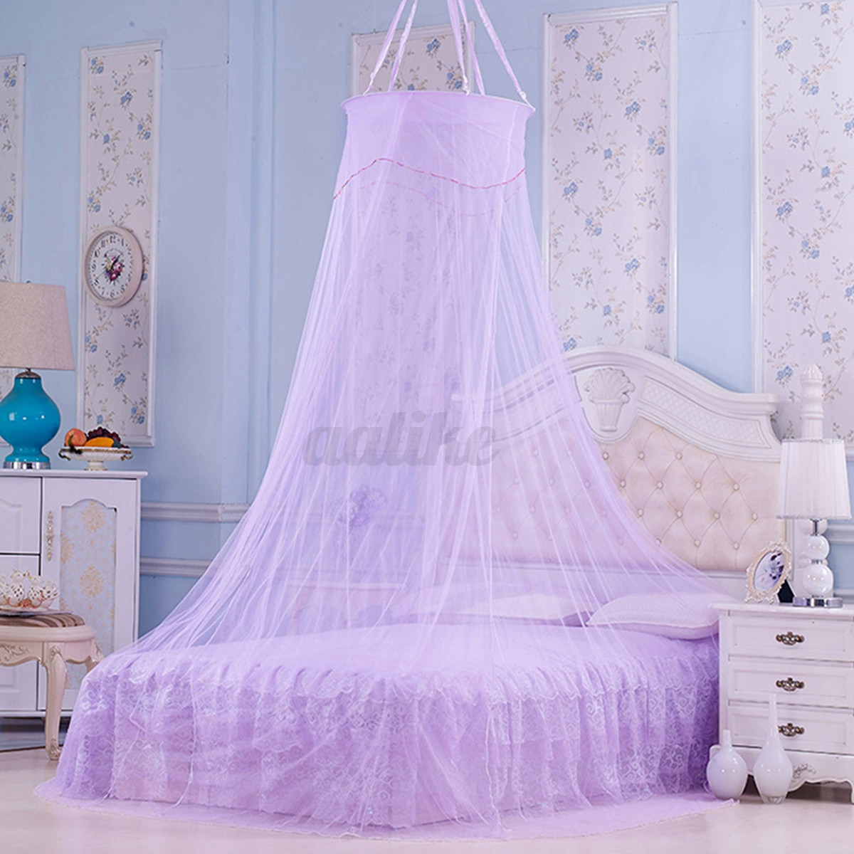 Elegant Round Lace Bed Canopy Netting Curtain Fly Midge