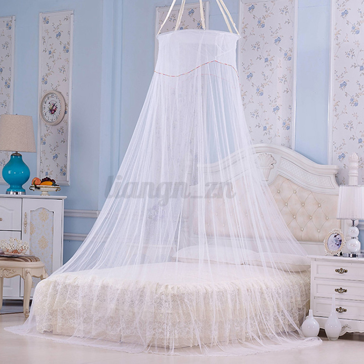 1pcs ciel de lit moustiquaire baldaquin d co voile chambre rond filet princesse ebay. Black Bedroom Furniture Sets. Home Design Ideas