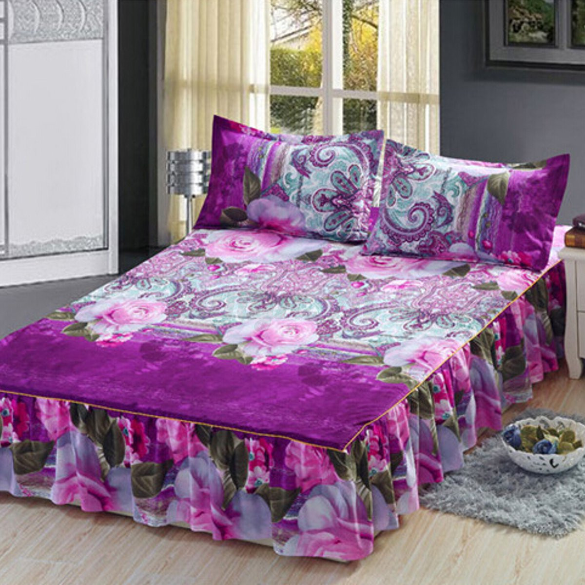 4pcs parure de lit 3d fleur housse couette drap couverture. Black Bedroom Furniture Sets. Home Design Ideas