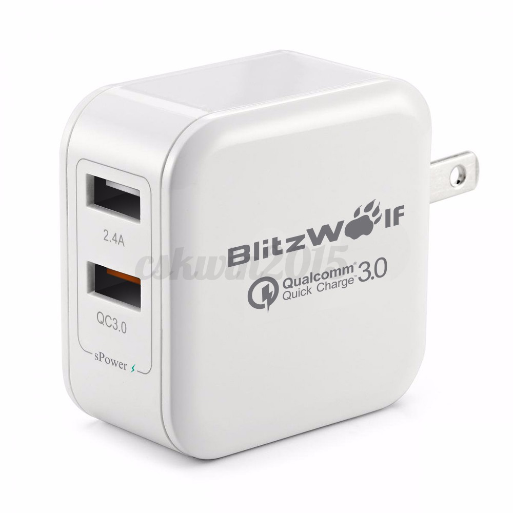 BlitzWolf QC3.0 2.4A 30W EU/US Dual USB Quick Charger Adapter For Phone/Tablet