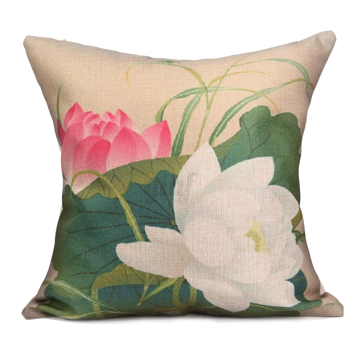 Vintage Chinese Style Ink Painting Lotus Home Pillow Case Throw Cushion Cover eBay