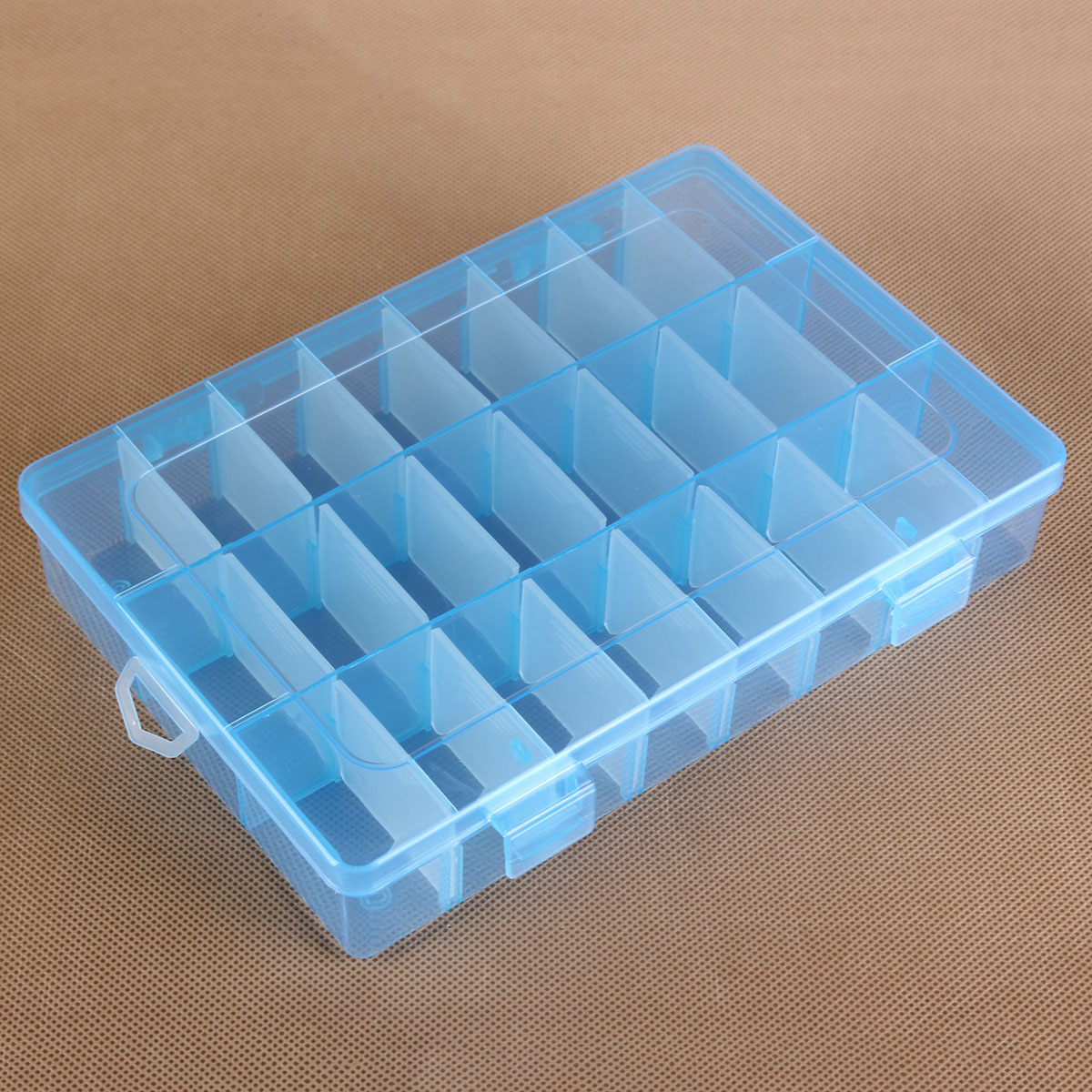 24 slot grid adjustable plastic storage box jewelry for Plastic grid sheets crafts