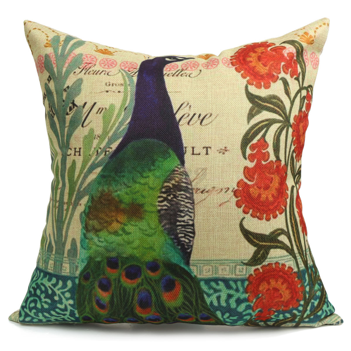 Vintage Flower Peacock Oriental Cushion Cover Decorative Sofa Throw Pillow Case eBay