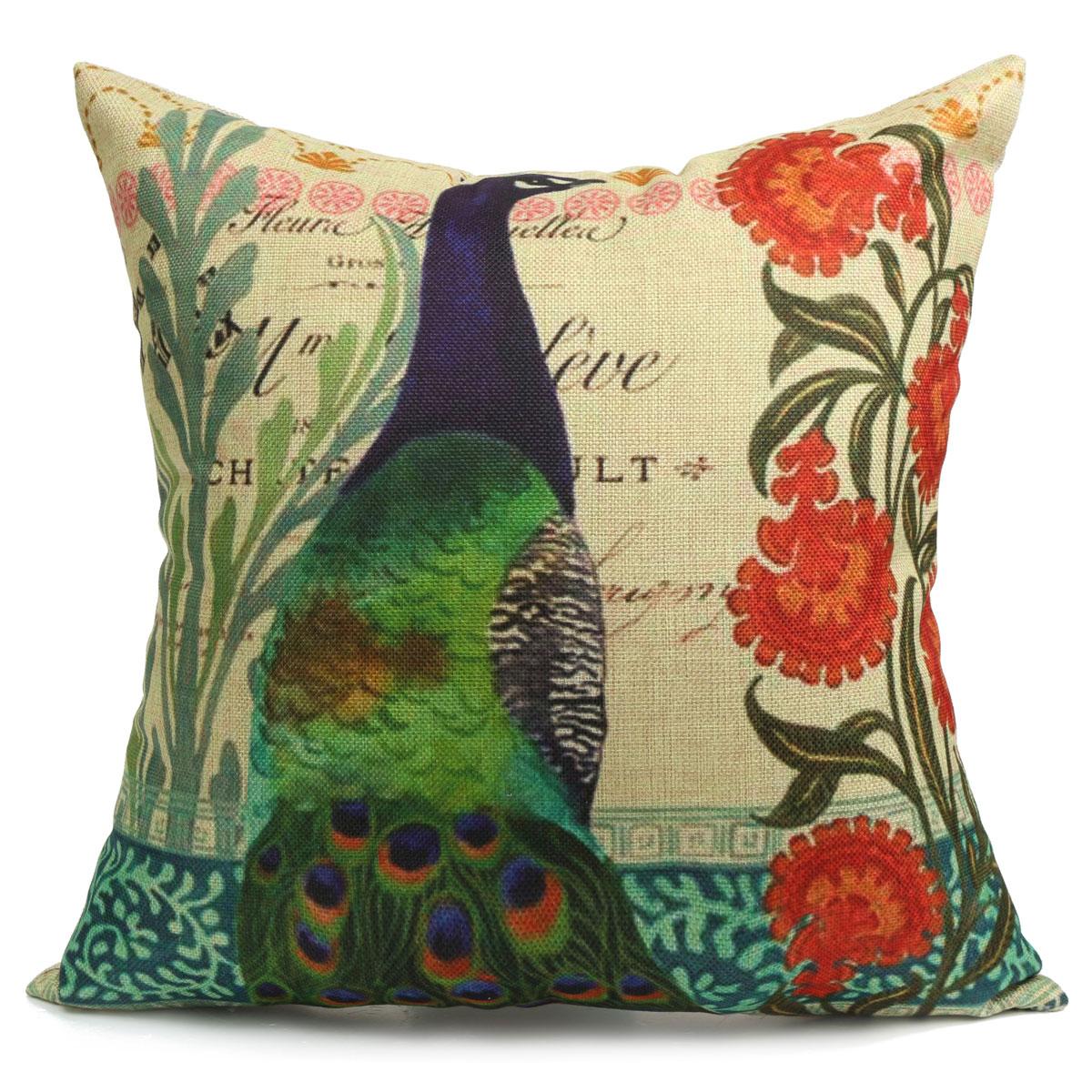 Throw Pillows Peacock : Vintage Flower Peacock Oriental Cushion Cover Decorative Sofa Throw Pillow Case eBay