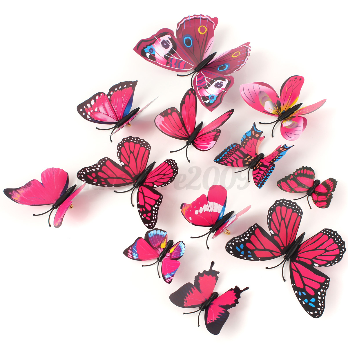 12pcs brooch diy 3d butterfly sticker art design decal for Diy 3d art