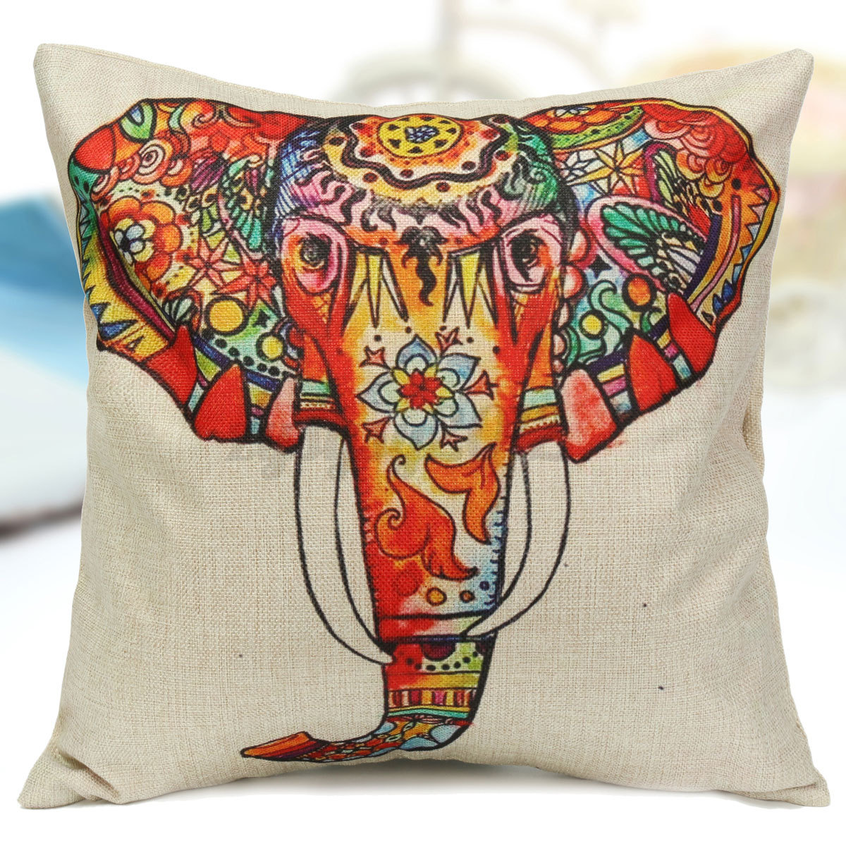 Elephant Linen Cotton Throw Pillow Case Sofa Home Decor Cushion Cover Pillowcase