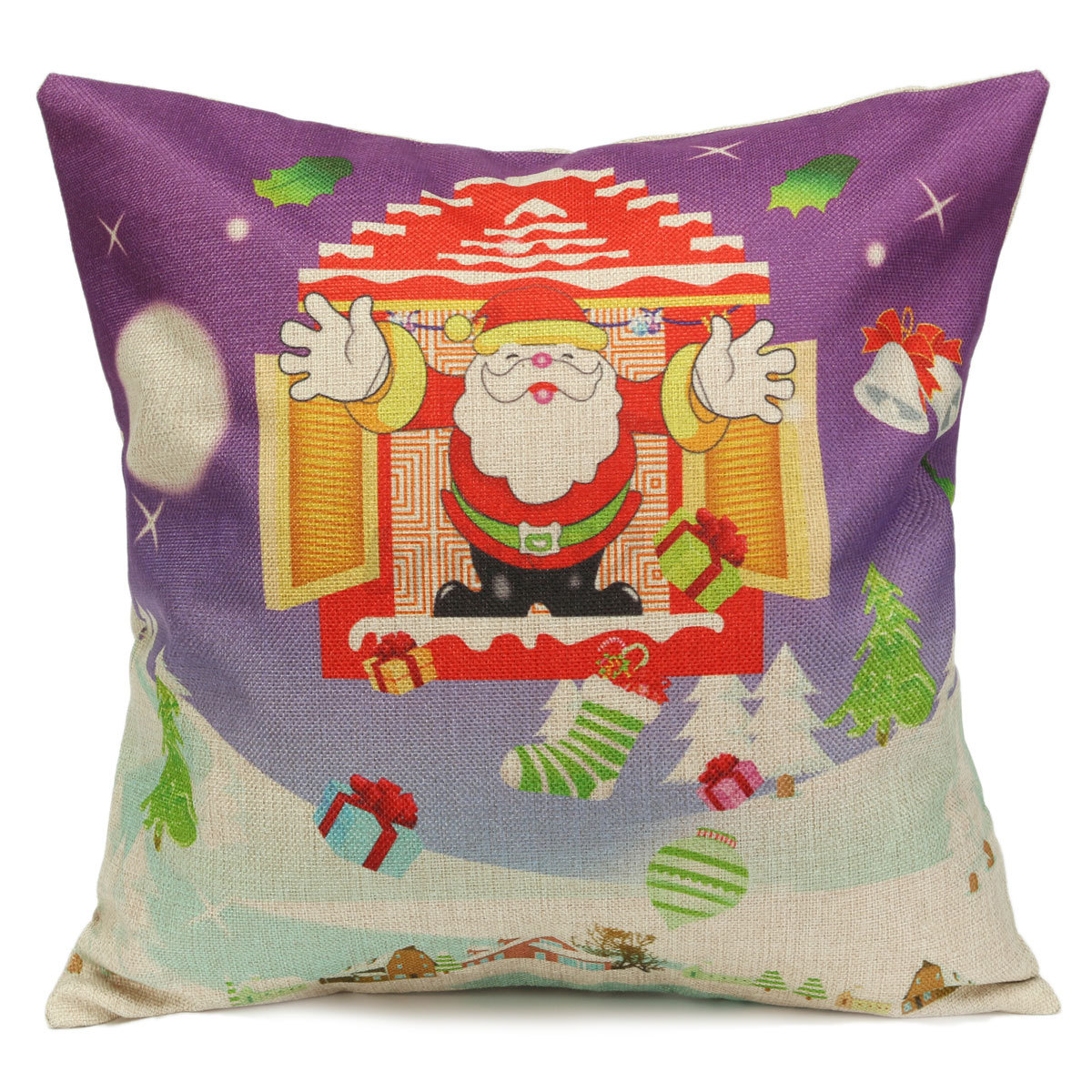 Photo Throw Pillow Gifts : Christmas Xmas Linen Cushion Cover Throw Pillow Case Home Decor Festive Gift eBay