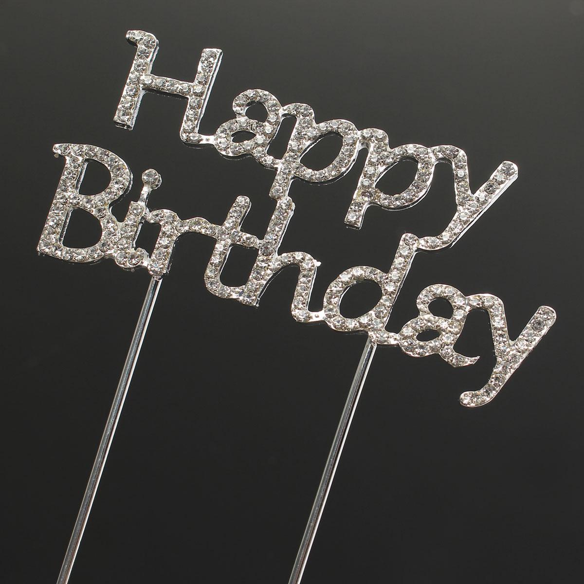 Happy Birthday Heart 18 21 Cake Topper Crystal Rhinestone Wedding