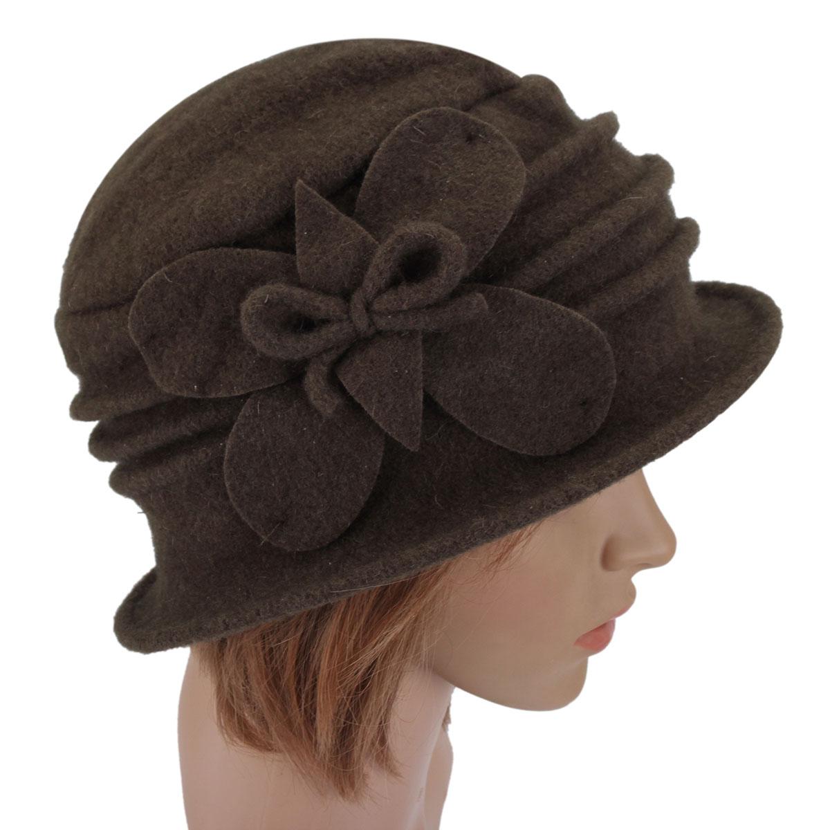 women lady floral bow wool bucket hat cloche crochet