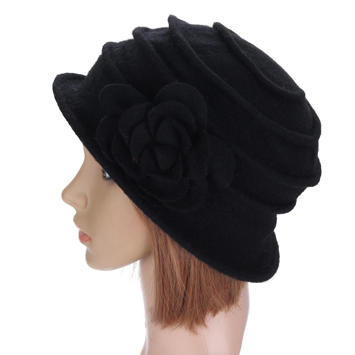 Hot Women Flower Wool Felt Bucket Hat Winter Church Dress ...