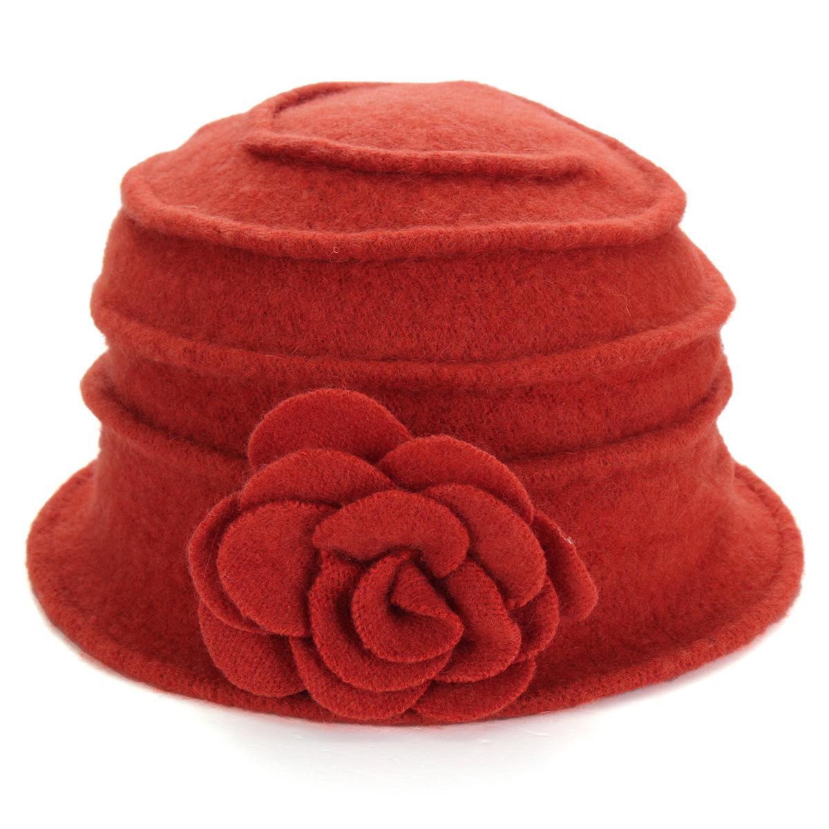 HOT Women 100% Wool Flower Felt Bucket Hat winter Church ...