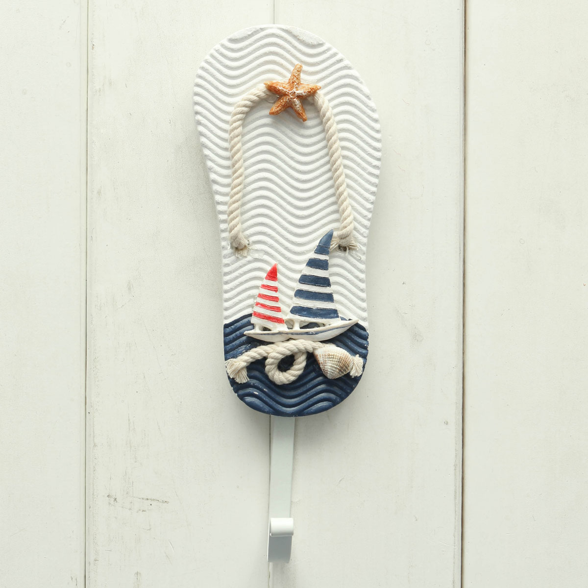 Wooden chic nautical decorative hook coat hat clothes for Decoration hangers