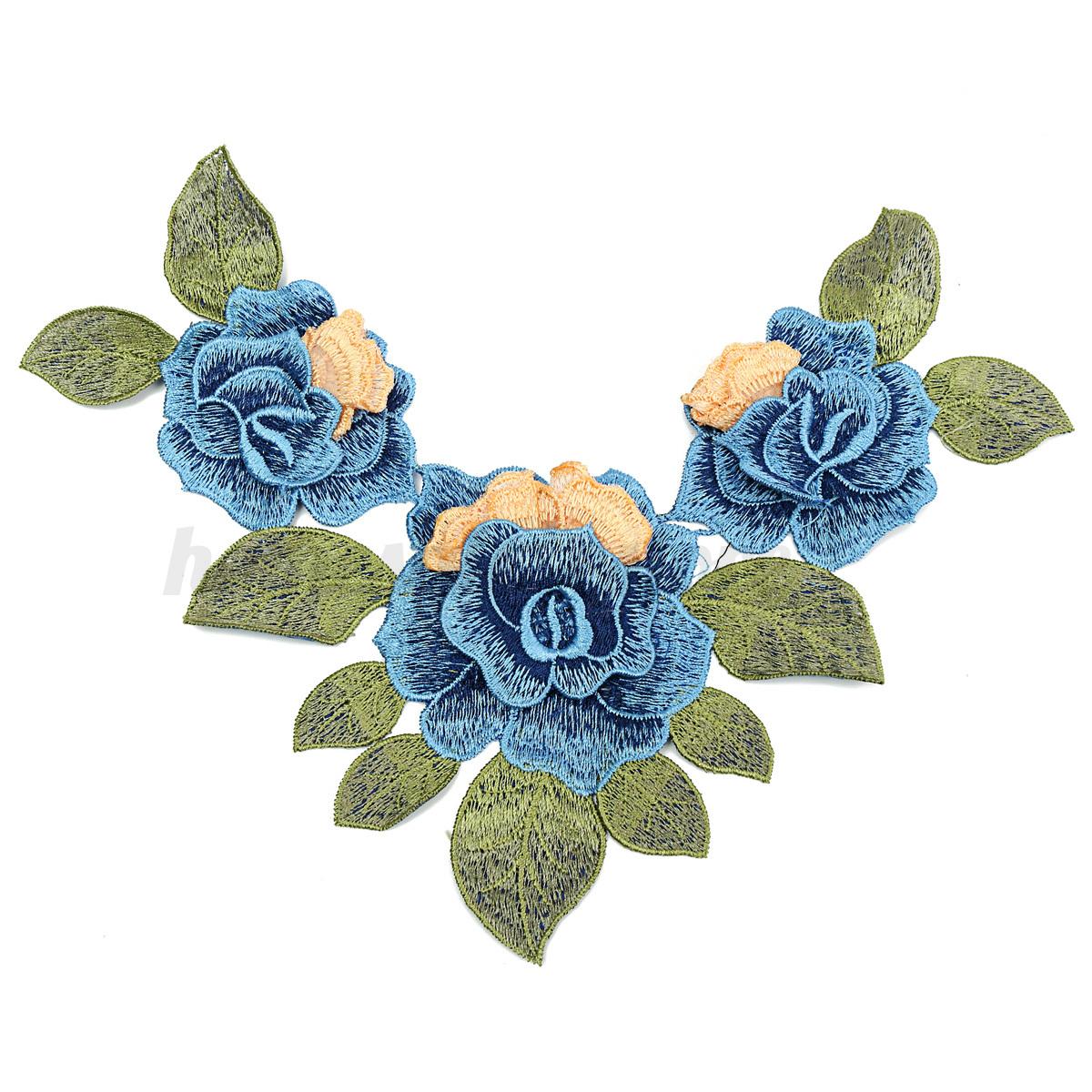 Vintage lace embroidered floral neckline neck collar trim for Applique vintage