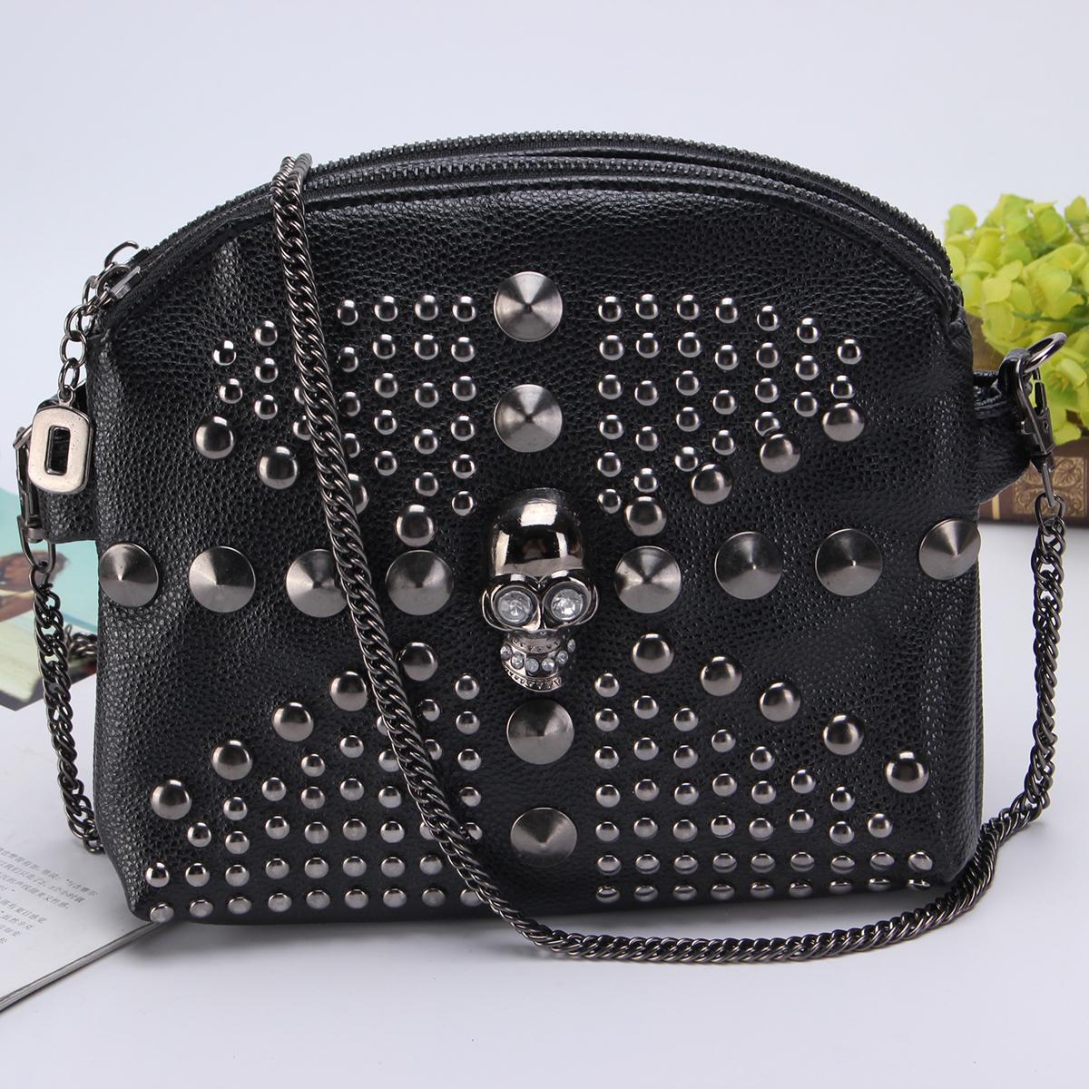 Fashion Women Punk Rock Satchel Skull Rivet Chain Shoulder Bag Crossbody Handbag