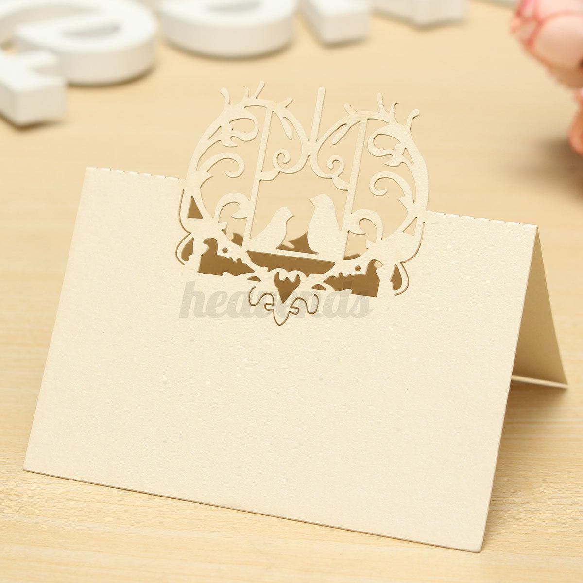 10pcs carte porte nom marque place laser papier coeur d co. Black Bedroom Furniture Sets. Home Design Ideas