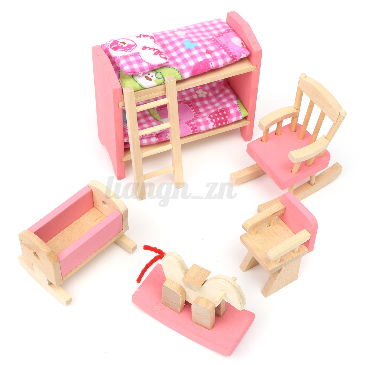 Au xmas gift wooden doll house miniature family children furniture set kit toys ebay Dolls wooden furniture