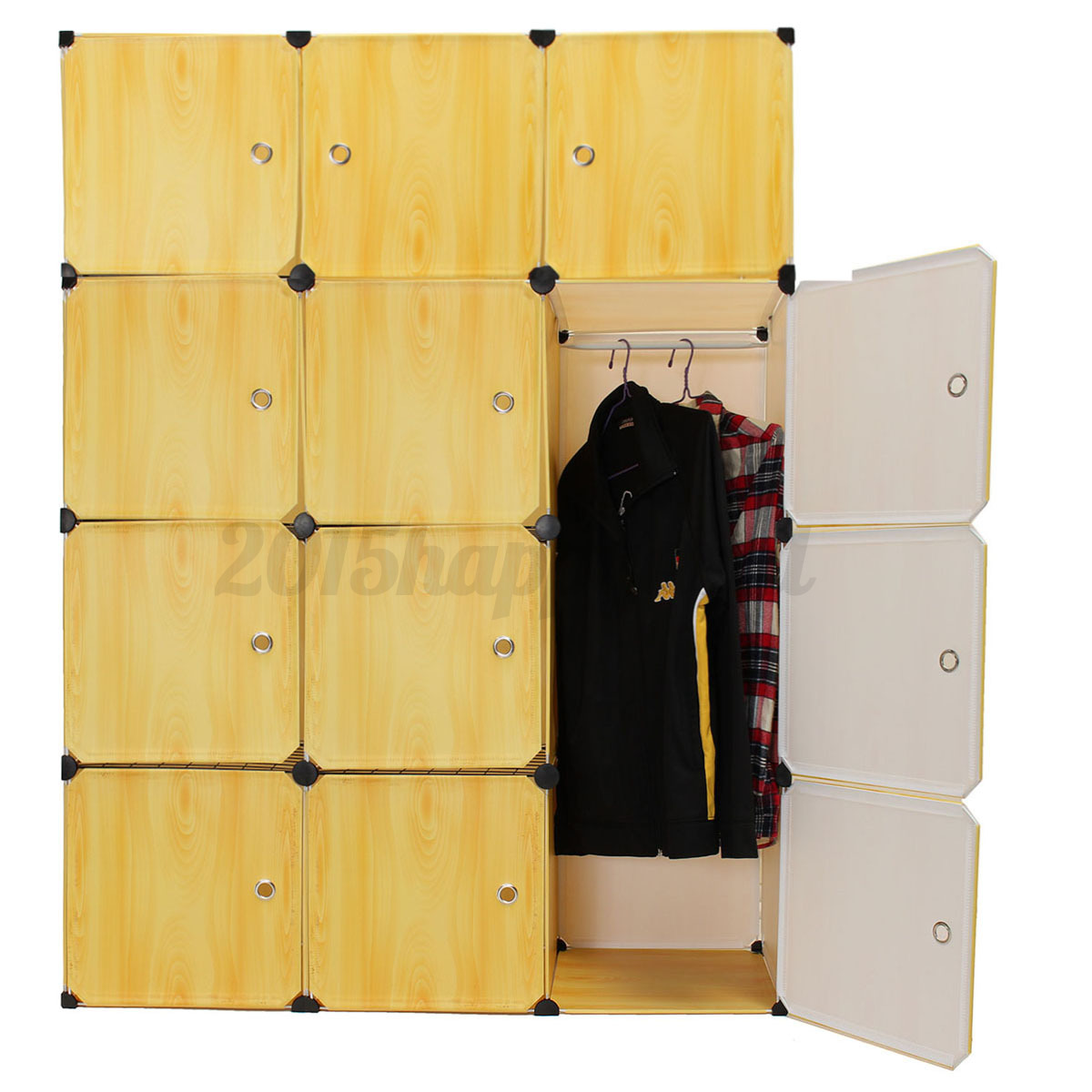 12 cube portable clothes closet organizer wardrobe storage hanging rail shelves ebay. Black Bedroom Furniture Sets. Home Design Ideas