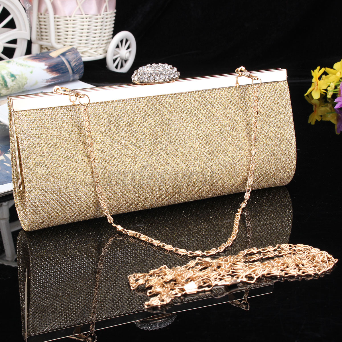 WOMEN SPARKLY GLITTER CLUTCH BAG WEDDING BRIDAL PROM PARTY EVENING HANDBAG PURSE