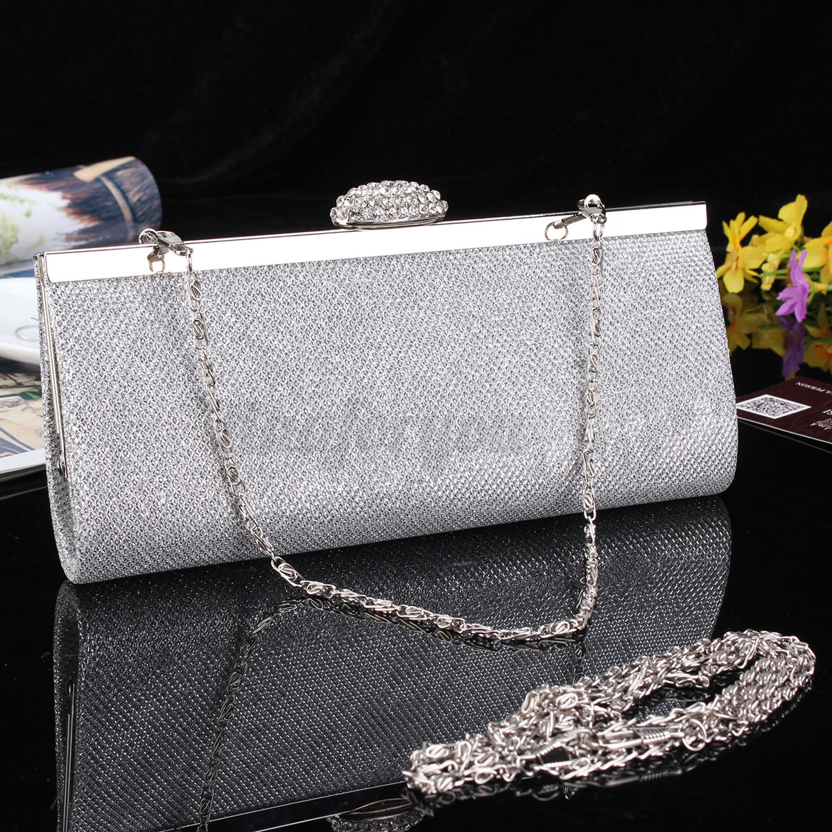 WOMEN SPARKLY GLITTER CLUTCH BAG WEDDING BRIDAL PROM PARTY EVENING HANDBAG PURSE | EBay