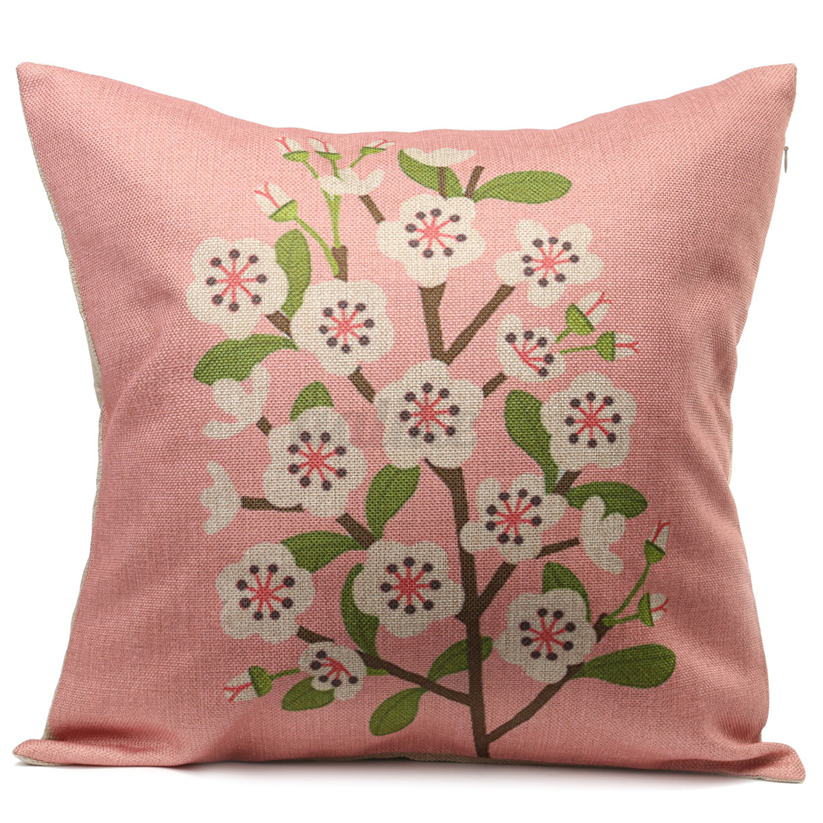 Retro fresh hand painted magnolia peach blossom square for Hand painted pillows