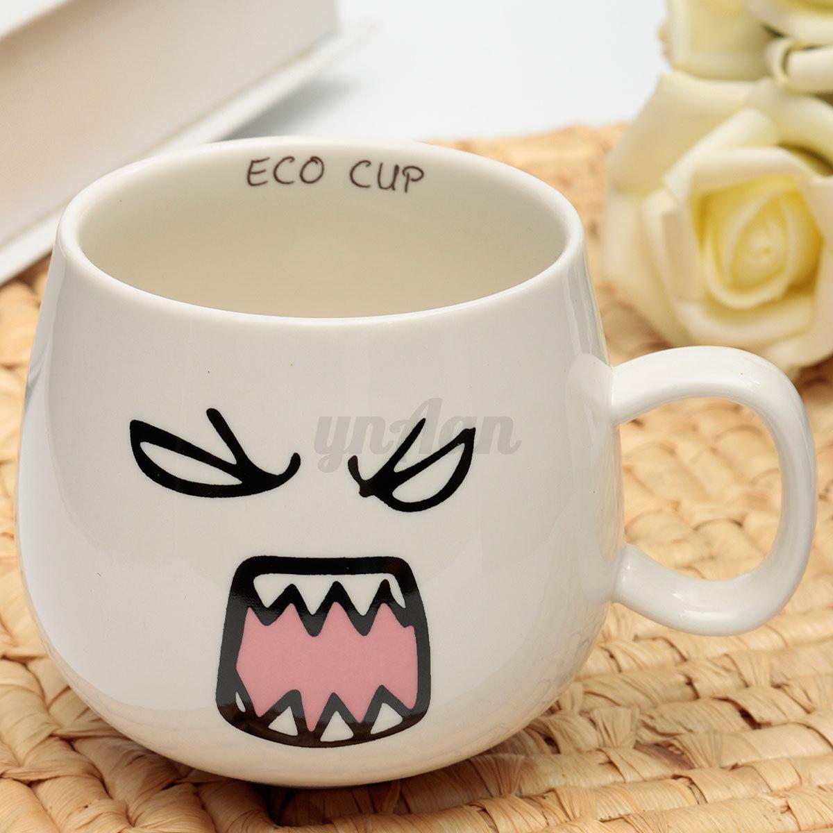 300ml Lovely Cute Face White Pottery Ceramic Cup Tea Coffee Milk Mug Gift