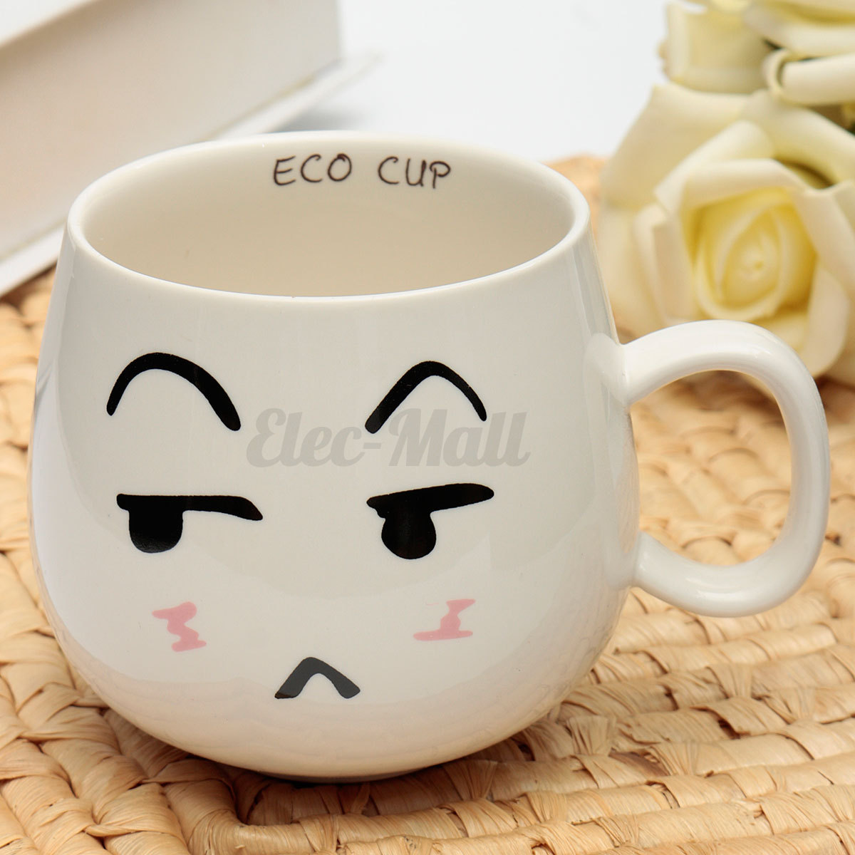 300ml Lovely Cute Face White Pottery Ceramic Cup Mug Tea Coffee Milk Cup Gift