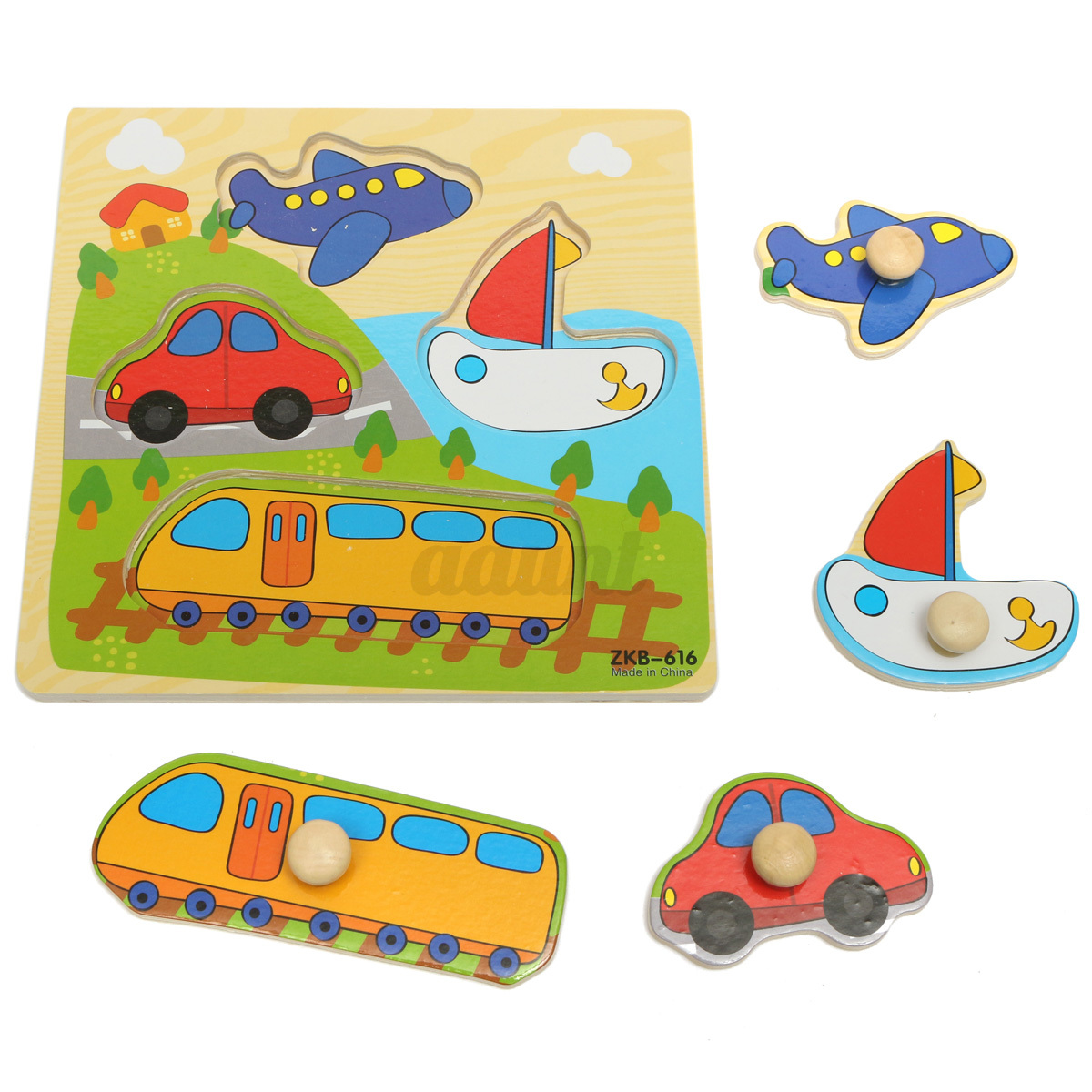 Toddler Toys Puzzle : Colorful wooden baby toddler kids educational jigsaw