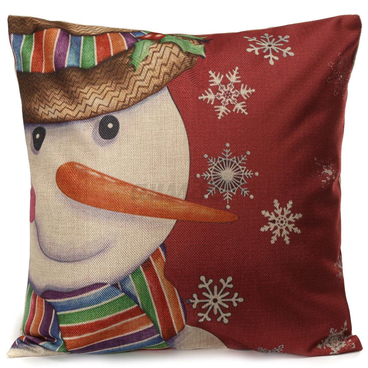 Christmas Xmas Linen Cushion Cover Throw Pillow Case Home: Vintage Cotton Linen Throw Pillow Case Xmas Cushion Cover